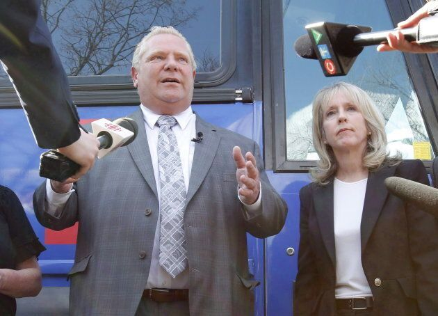 Premier Doug Ford and Minister of Training, Colleges and Universities Merrilee Fullerton speak to reporters...