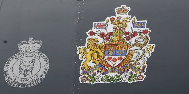 Canada's CoatofArmsis shown on the side of the Canadian airforce plane at Ottawa Macdonald-Cartier...