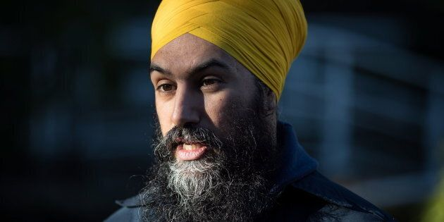 NDP Leader Jagmeet Singh is interviewed while door knocking for his byelection campaign, in Burnaby,...
