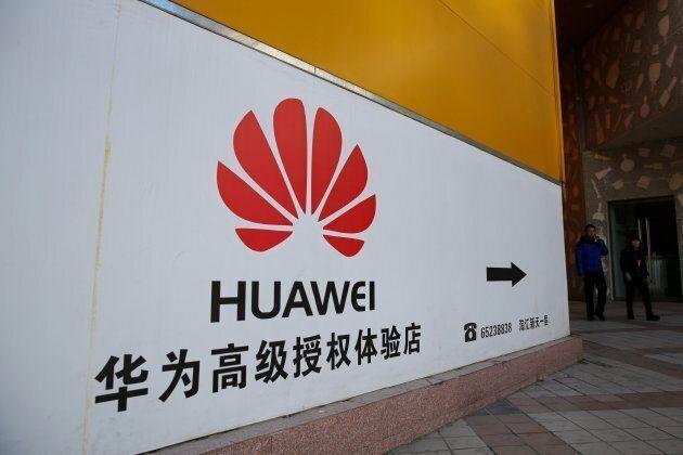 A Huawei logo in Beijing, China on Dec. 12,