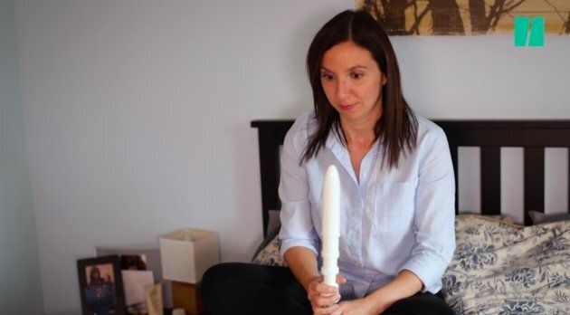 HuffPost Canada parents editor Natalie Stechyson eyes the dilators that were supposed to increase her...