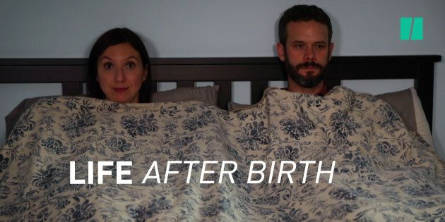 HuffPost Canada Parents Editor Natalie Stechyson and her husband being not at all awkward in the new...