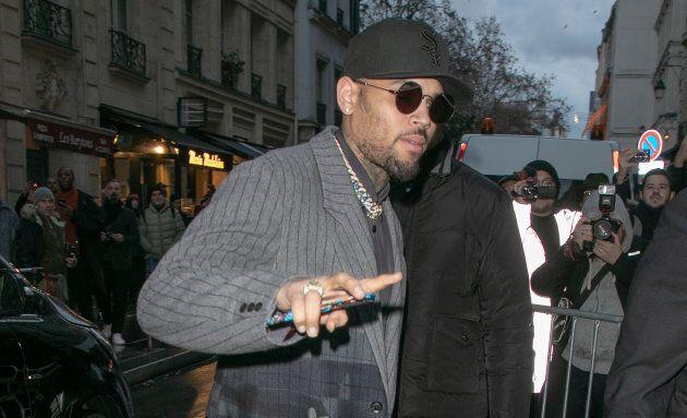 Chris Brown is seen on Jan. 17, 2019 in Paris,