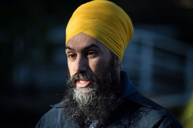 NDP Leader Jagmeet Singh is interviewed while door knocking for his byelection campaign in Burnaby, B.C.,...