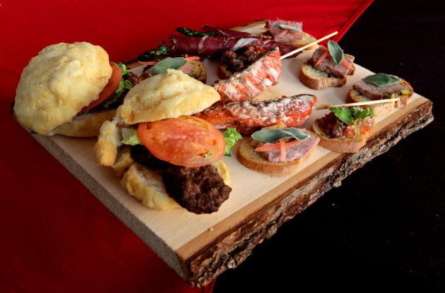 A selection of food served at the Aboriginal Pavilion during the Vancouver Winter Olympics is displayed...