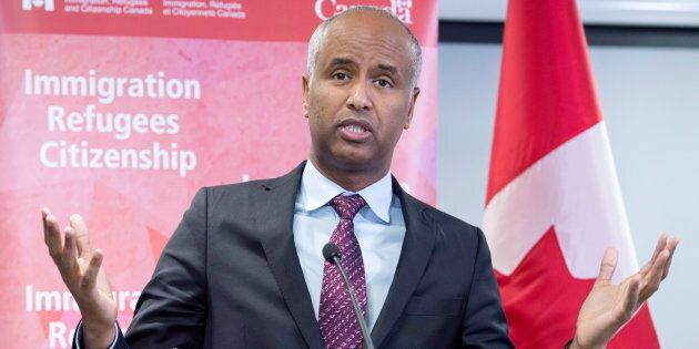 Immigration Minister Ahmed Hussen makes an announcement of support for pre-arrival services at the YMCA in Toronto on Jan. 14, 2019.