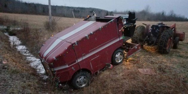 A Zamboni that got stuck in a ditch during an overnight storm in Nova Scotia is shown in a handout photo...