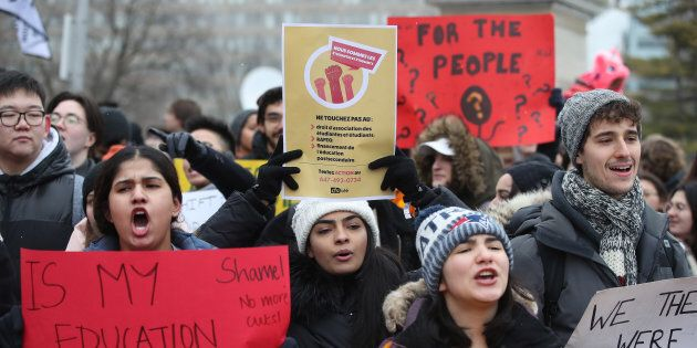 The Canadian Federation of Students held an emergency rally at Queen's Park to protest cuts to OSAP and...