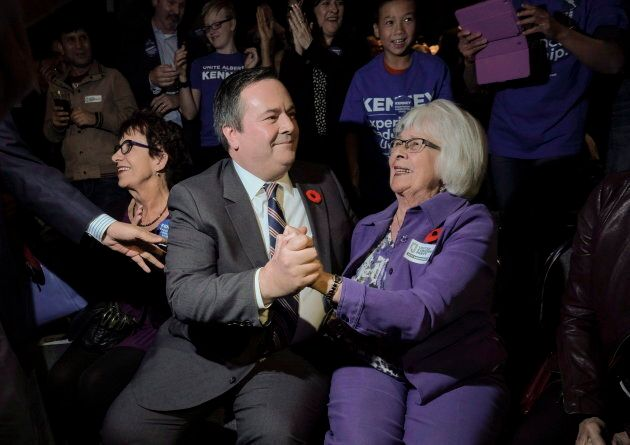 Jason Kenneycelebrates his victory as the first official leader of the Alberta United Conservative Party...