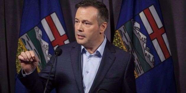 Jason Kenney speaks to the media at his first convention as leader of the United Conservative Party in...