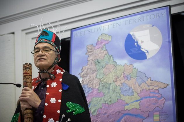 Wet'suwet'en Hereditary Chief Namoks (John Ridsdale) speaks as Indigenous nations and supporters gather...