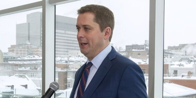 Andrew Scheer in Montreal on Jan. 21,