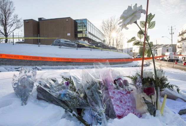 A memorial near the Quebec City mosque is seen on Jan. 30,