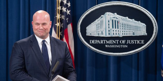 Acting US Attorney General Matthew Whitaker arrives to announce a 13-count indictment of financial fraud...