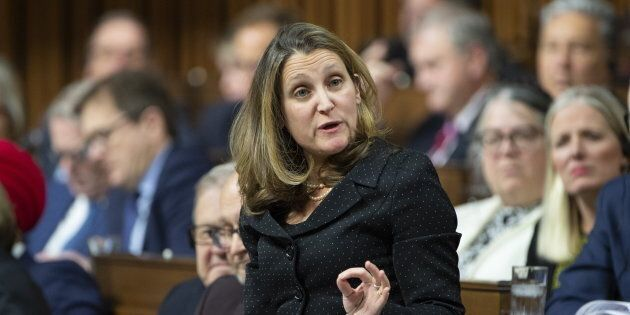 Chrystia Freeland responds on Jan. 28, 2019 in