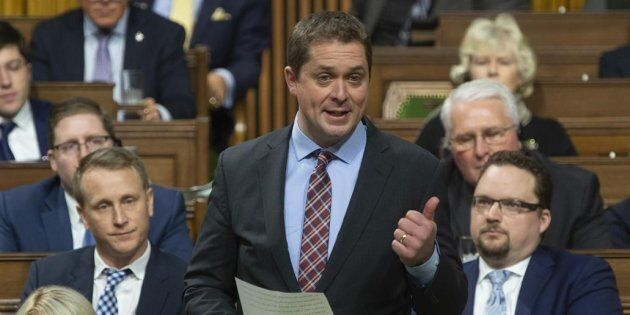 Conservative Leader Andrew Scheer rises during Question Period in the House of Commons on Jan. 28,