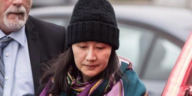 Huawei chief financial officer Meng Wanzhou arrives at a parole office in Vancouver on Dec. 12,