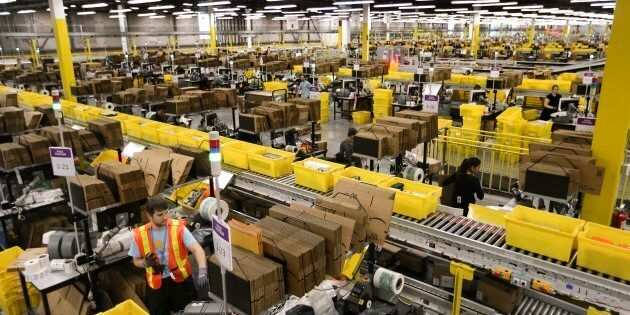 An Amazon fulfillment centre in Brampton, Ont. A union alleges the retail giant has engaged in unfair...