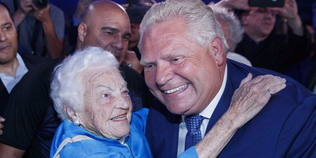 Ontario Premier Doug Ford is congratulated by former Mississauga mayor Hazel McCallion after winning...