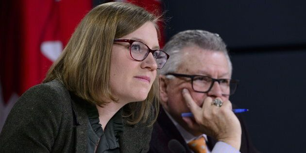 Democratic Institutions Minister Karina Gould attend a press conference with Public Safety Minister Ralph...