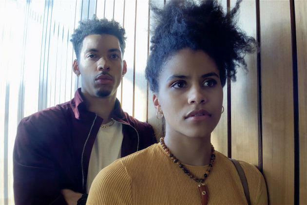 Melvin Gregg as Erick Scott and Zazie Beetz as Sam in