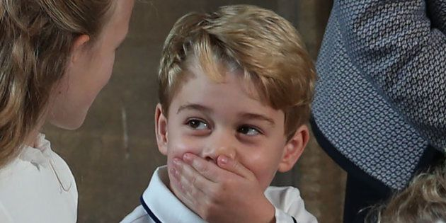 Prince George of Cambridge at the wedding of Britain's Princess Eugenie of York to Jack Brooksbank on Oct. 12, 2018.