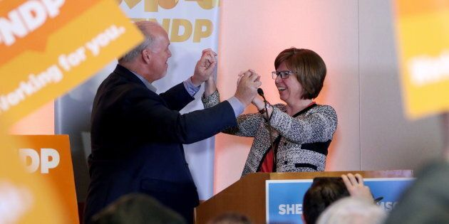 NDP candidate Shiela Malcolmson celebrates with Premier John Horgan after winning the byelection in Nanaimo,...