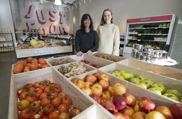 Co-owners Alison Carr, right, and Brianne Miller are seen inside Nada grocery, Vancouver, Friday, Jan 25, 2019.