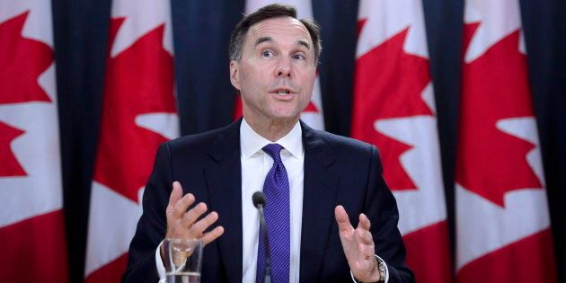 Finance Minister Bill Morneau speaks at the National Press Theatre during a press conference in Ottawa...