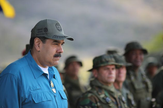 Venezuela's President Nicolas Maduro attends a military exercise in Turiamo, Venezuela on Feb. 3,