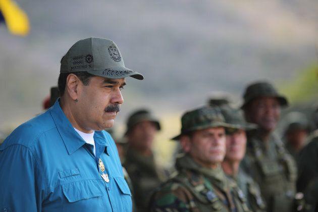 Venezuela's President Nicolas Maduro attends a military exercise in Turiamo, Venezuela on Feb. 3, 2019.
