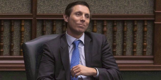 Former Ontario PC Leader Patrick Brown sits in his chair at the Queens Park Legislature in Toronto on...