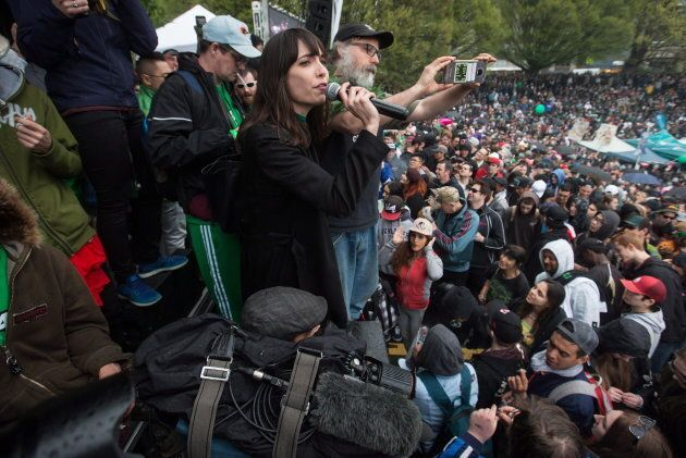 Jodie Emery addresses the crowd during the 4-20 annual marijuana celebration, in Vancouver on April 20, 2018.