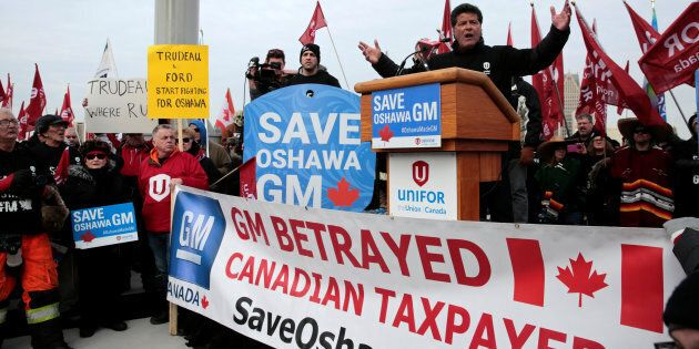 Unifor president Jerry Dias addresses General Motors workers protesting GM's plan to close its Oshawa...