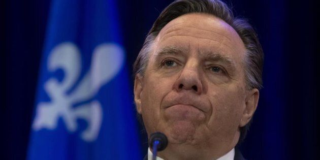 Quebec Premier Francois Legault speaks with the media during a news conference in Gatineau, Que., Wednesday,...