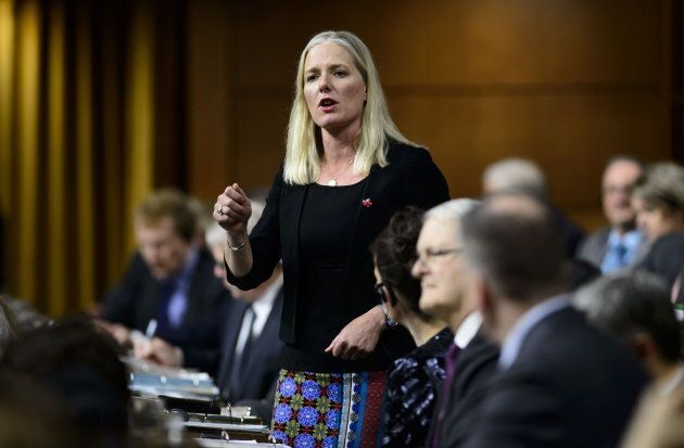 Environment Minister Catherine McKenna stands during question period in the House of Commons in the West...