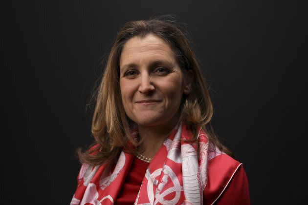 Chrystia Freeland poses for a photograph following a Bloomberg Television interview on the opening day...