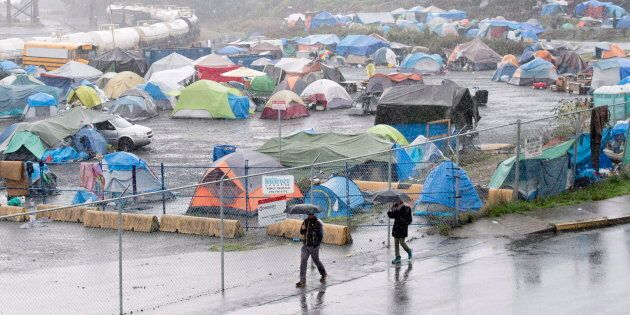 A tent city homeless camp in downtown Nanaimo, B.C., is seen on Sept. 22,