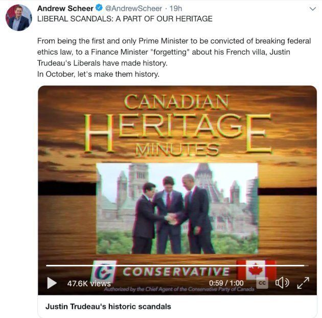 "A screenshot of a now-deleted tweet on Tory leader Andrew Scheer's account, featuring the original ""Heritage Minutes"" spoof."