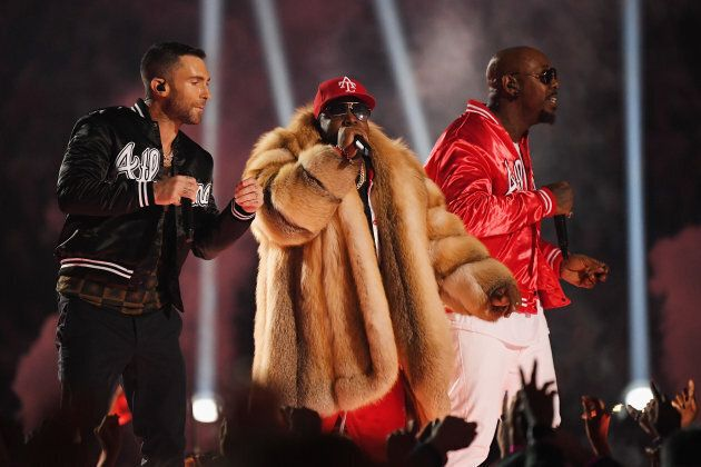 Adam Levine, Big Boi and Sleepy Brown perform during the Super Bowl LIII Halftime Show in Atlanta on...