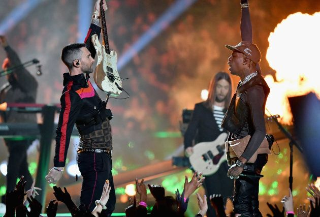 Adam Levine and Travis Scott perform during the Super Bowl LIII Halftime Show on