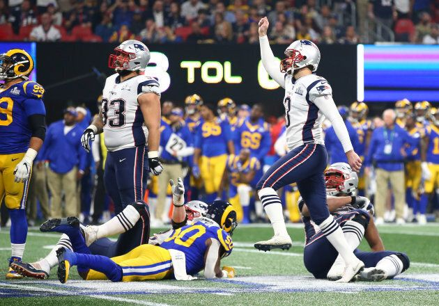 New England Patriots kicker Stephen Gostkowski (3) kicks a field goal against the Los Angeles Rams in...