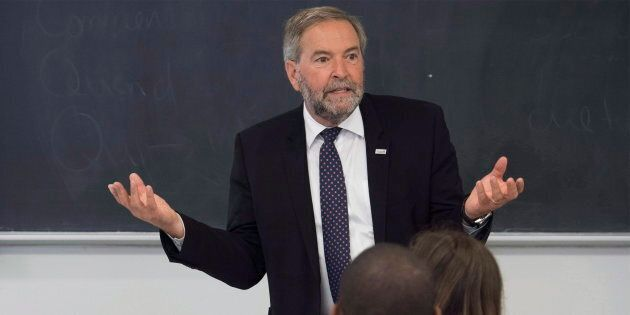 Former NDP leader Tom Mulcair teaches a class at the University of Montreal on Sept. 5,