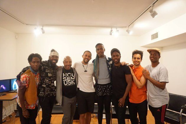 """David Lewis-Peart, third from right, at a screening of the documentary, """"Black Men Loving,"""" which he co-produced with Omar Rivero and Jahsai Ashley."""