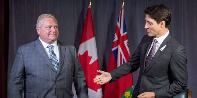 Prime Minister Justin Trudeau meets with Ontario Premier Doug Ford in Montreal on Dec. 6, 2018.