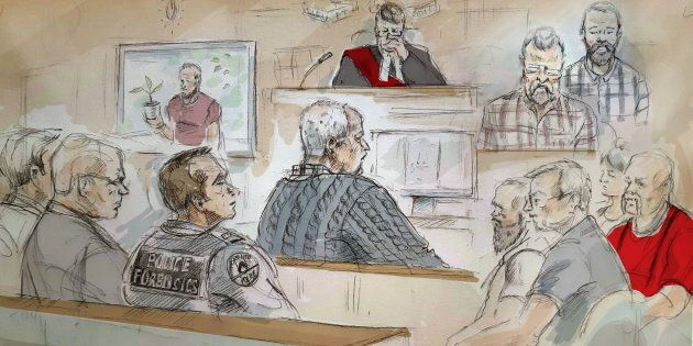 In this artist's sketch, serial killer Bruce McArthur attends his sentencing hearing in Toronto on Feb.4,