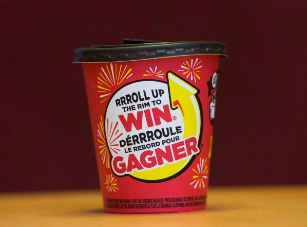 A photograph of a Tim Hortons Roll Up the Rim cup.