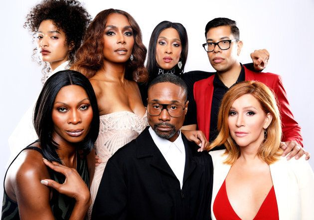 """Back left to right: Indya Moore, Janet Mock, Mj Rodriguez and Steven Canals. Front left to right: Dominique Jackson, Billy Porter and Our Lady J  of FX's """"Pose"""" pose for a portrait during the 2018 Summer Television Critics Association Press Tour on August 3, 2018 in Beverly Hills, Calif."""
