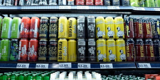 Beer is displayed at a grocery store in Ottawa on Aug. 9,
