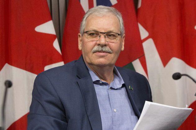Ontario Public Service Employees Union (OPSEU) President Warren (Smokey) Thomas speaks to reporters at...
